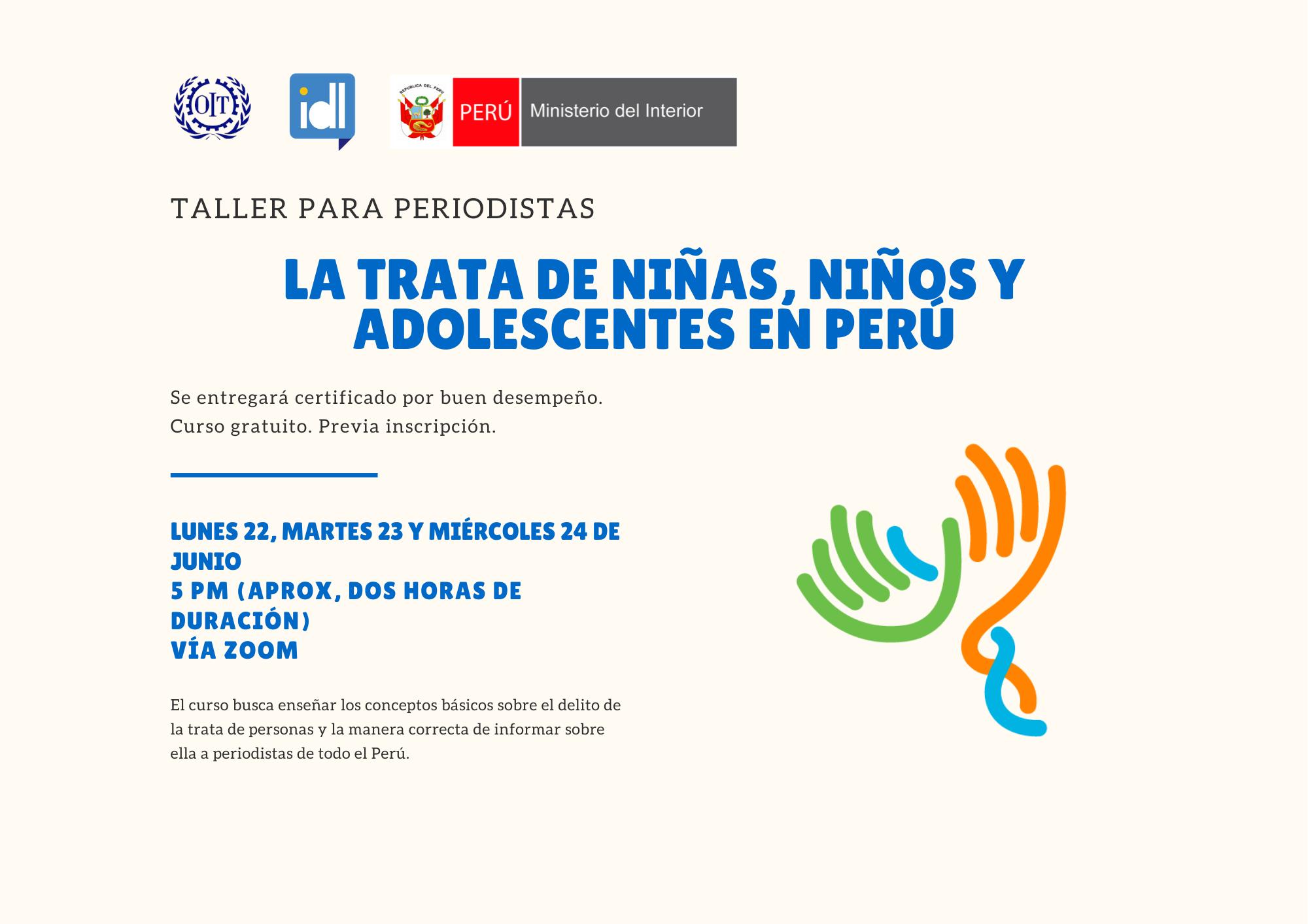 Inscríbete al Taller para periodistas: Trata de personas en niños, niñas y adolescentes