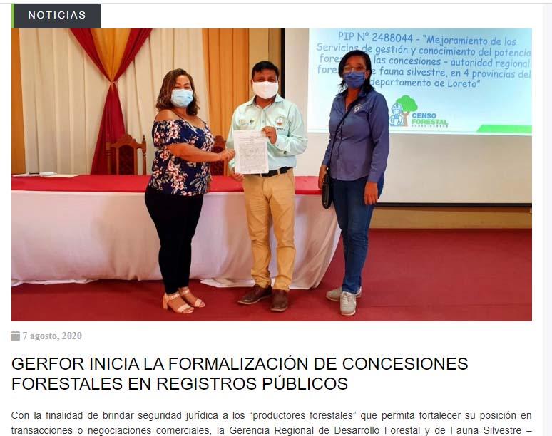 La Gerencia Regional de Desarrollo Forestal y de Fauna Silvestre de Loreto promueve inscripción de concesiones forestales en Registros Públicos