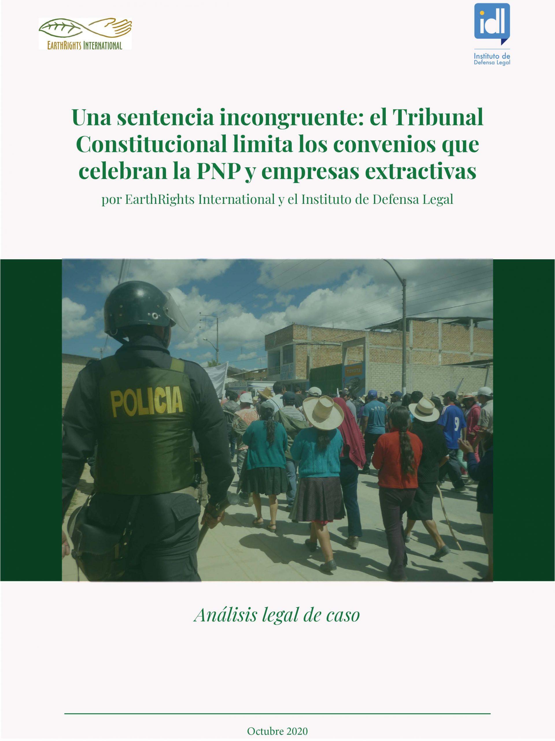 Una sentencia incongruente: el Tribunal Constitucional limita los convenios que celebran la PNP y empresas extractivas