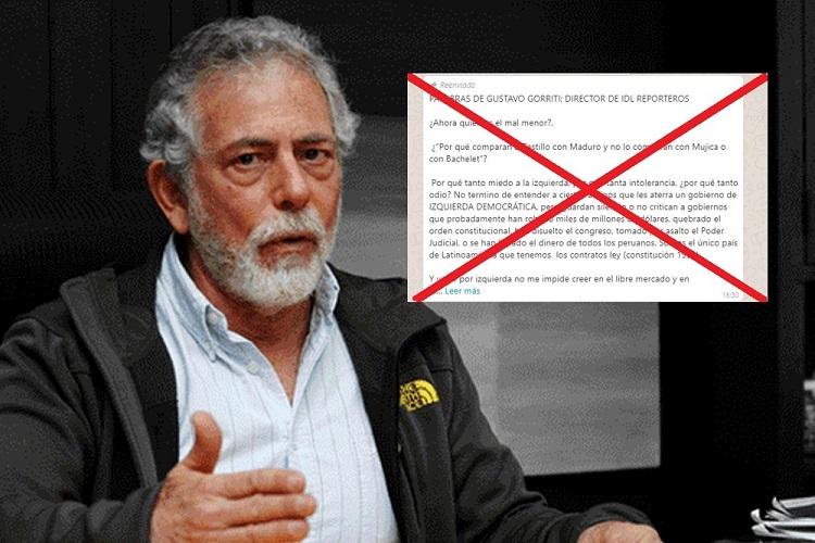 Es falso el presunto artículo de Gustavo Gorriti sobre su voto por Pedro Castillo