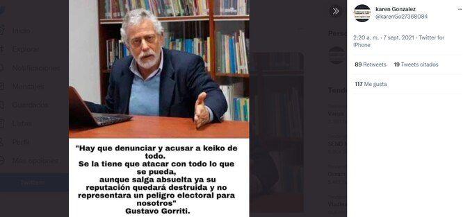 Es falsa la declaración atribuida a Gustavo Gorriti sobre Keiko Fujimori, viralizada en redes