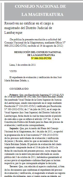 Resolución de no ratificación de Balcázar (Haz click para leer el documento completo)